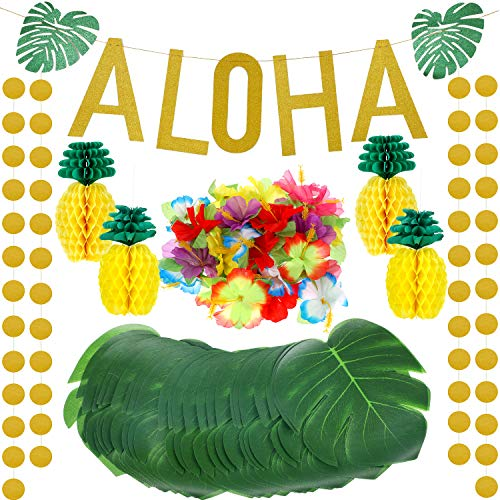 143 Pieces Hawaiian Tropical Luau Theme Party Decorations Set, Include Tissue Paper Pineapples, Tropical Palm Simulation Leaves, Artificial Hibiscus Luau Flowers, Gold Glittery Aloha Banner -