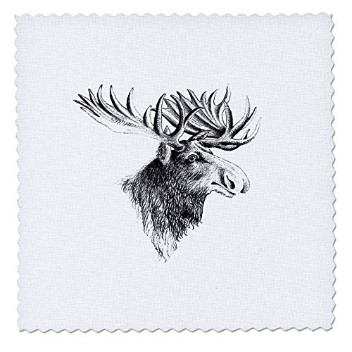 3dRose lens Art by Florene - Black And White - Image of Beautiful Vintage Sketch Of Moose Portrait - 22x22 inch quilt square (qs_317083_9) ()