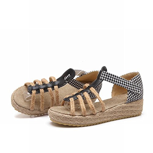Carolbar Womens Hounds-tooth Pattern Fashion Casual Retro Country Style Comfort Platform Wiggen Sandalen Zwart