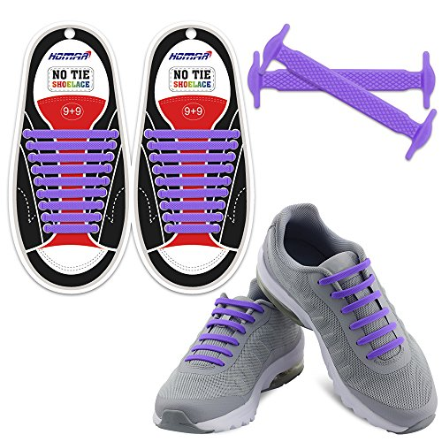 Homar No Tie Shoelaces - Best in Sports Fan Shop - Silicon Elastic Shoe Laces with Multicolor to Choose Perfect for Kids and Adults - (Shop Purple)