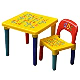 HomeStoreDirect  ABC Alphabet Childrens Plastic Table and Chair Set Kids Toddlers Childs