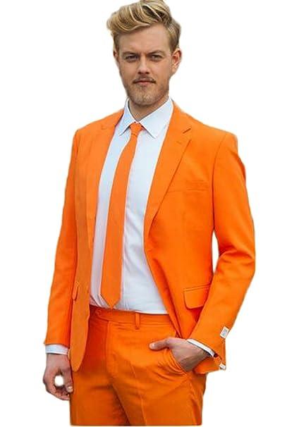 AK Beauty Mens Suit Notch Lapel Orange 2 Pieces Slim Fit ...
