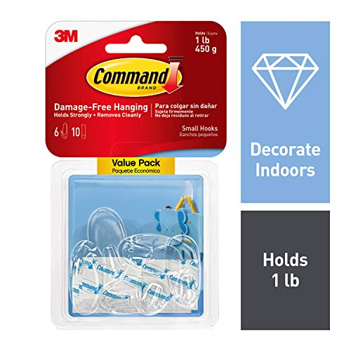 Command Oval Hooks, Indoor Use, 6 hooks, 10 strips, Decorate Damage-Free (17092CLR-6ES)
