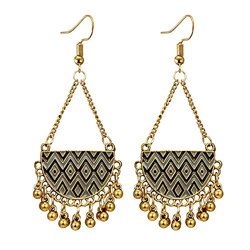 Molyveva Chandelier Earrings Womens Bohemia Classical Fringed Drop Tassels Hook Dangle Indian Earrings