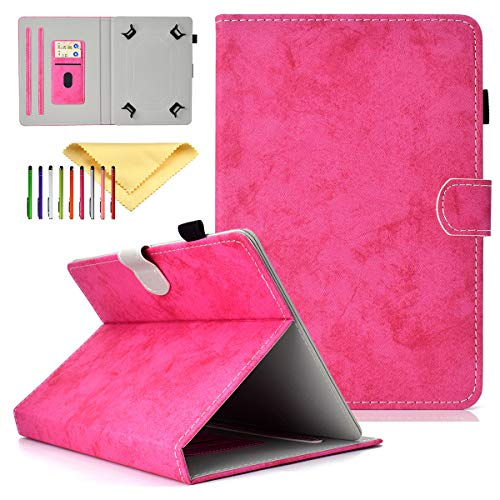 Cookk Universal 9.5-10.5 Inch Tablet Case with Card Slot Kickstand Protective Cases and Covers for iPad 9.7, Nexus 9, Galaxy Tab 9.7/9.6/10.1, Rose