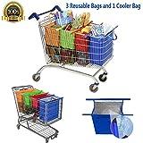 Bolsas Reusables - Kit de 4 bolsas reusables en colores Naranja, Verde, Morado y Azul. Adaptadas para carritos de supermercados en Mexico