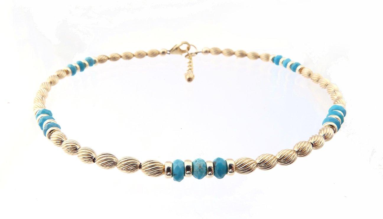 DAMALI 14K Gold Ankle Bracelets: Blue Turquoise Beaded December Birthstone Jewelry
