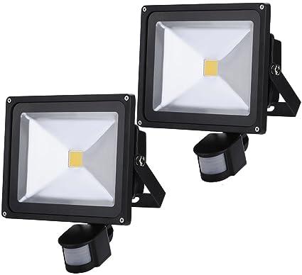 ALPHA DIMA 2pcs 30W Foco LED con Sensor Movimiento Foco Exterior LED Con Sensor Proyector 2700Lumen