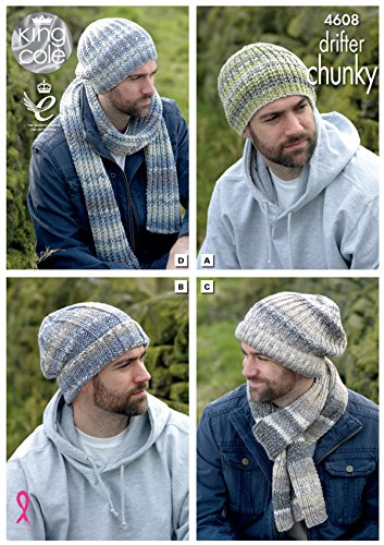 King Cole Mens Chunky Knitting Pattern - Slouchy or Ribbed Hats & Scarf Winter Accessories (4608) by King (Mens Scarf Knitting Pattern)