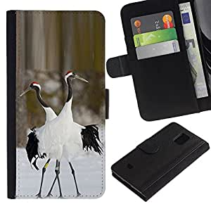 All Phone Most Case / Oferta Especial Cáscara Funda de cuero Monedero Cubierta de proteccion Caso / Wallet Case for Samsung Galaxy S5 Mini, SM-G800 // pájaros del amor de invierno naturaleza par de san valentín