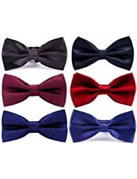 6 PACKS Adjustable Classic Pre-tied bow ties for Men Wedding Party