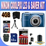 Nikon Coolpix L23 Digital Camera - Blue (10mp, 5x Optical Zoom) 2.7-inch LCD W/4GB SDHC Memory + Set of Rechargeable Batteries + Ac/Dc Charger + USB Card Reader + Memory Card Wallet + Shock Proof Case w/Strap + Accessory Saver Bundle!