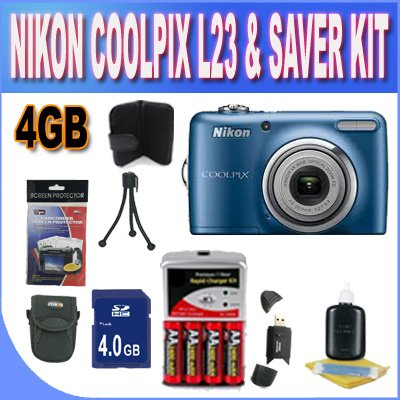 Nikon Coolpix L23 Digital Camera – Blue (10mp, 5x Optical Zoom) 2.7-inch LCD W/4GB SDHC Memory + Set of Rechargeable Batteries + Ac/Dc Charger + USB Card Reader + Memory Card Wallet + Shock Proof Case w/Strap + Accessory Saver Bundle! For Sale