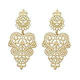 Peony.T Women's Bohemian Filigree Chandelier Hollow Lace Pattern Statement Dangle Earrings in Gold Color (Round)