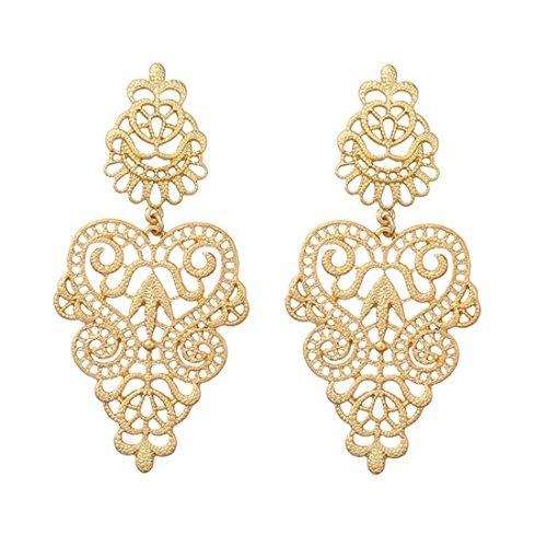 Peony.T Women's Bohemian Filigree Chandelier Hollow Lace Pattern Statement Dangle Earrings in Gold Color (Round) (Lace Peony)