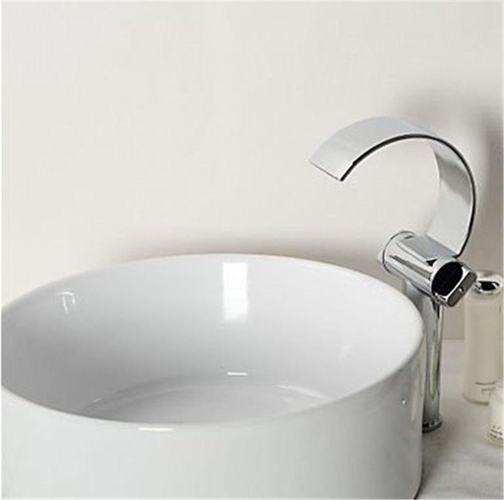 MEIBATH Waschtischarmatur Badezimmer Waschbecken Wasserhahn Küchenarmaturen Wasserfall mit warmen und kaltem Wasser Ventil 2 Hebel Einlochmontage Chrom Küchen Wasserhahn Badarmatur
