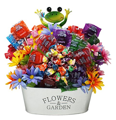 National Lollipop Day Gift Basket |Charms Mini Pops,Sweet Pops,Lollipop Bouquet | Includes a Garden Reusable Planter and Lovely Silk Flowers With A Happy Frog | (Sweet Assortment Candy Bouquet)