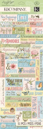 K&Company Floral Word Embossed Sticker by Susan Winget (Florals Scrapbooking)