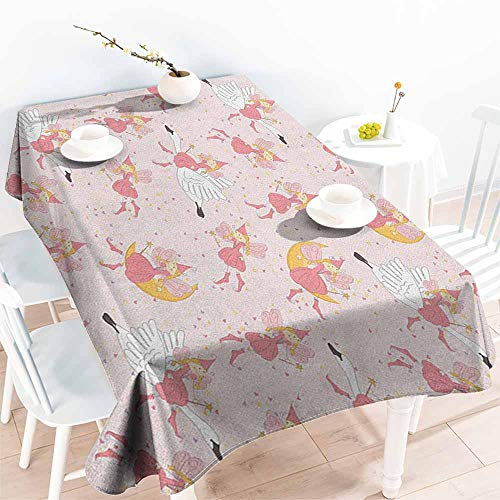 EwaskyOnline Large Rectangular Tablecloth,Princess Pattern with Flying Fairies Setting on Moon Riding Swan Magical Stick,High-end Durable Creative Home,W60x120L, Rose Earth Yellow Pink]()