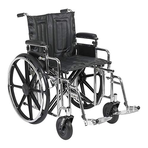 STD22DDA-ELR - Drive Medical Sentra Extra Heavy Duty Wheelchair, Detachable Desk Arms, Elevating Leg Rests, 22 Seat -