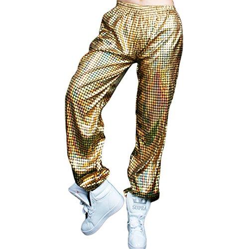 Hoohu Adult Hip Hop Baggy Laser Harem Elastic Waist Loose Fit Pants Trousers Sweatpants for Dancewear Active Sports Jogger]()