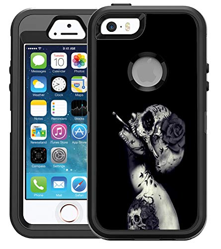 (Protective Designer Vinyl Skin Decals/Stickers for OtterBox Defender iPhone 5/5s/SE Case -Creative Skull Flower Tattoo Design Design Patterns - Only Skins and NOT Case - by [TeleSkins])