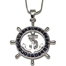 DianaL Boutique Silver Tone Nautical Ship Wheel and Anchor Pendant Necklace Navy Blue Crystal