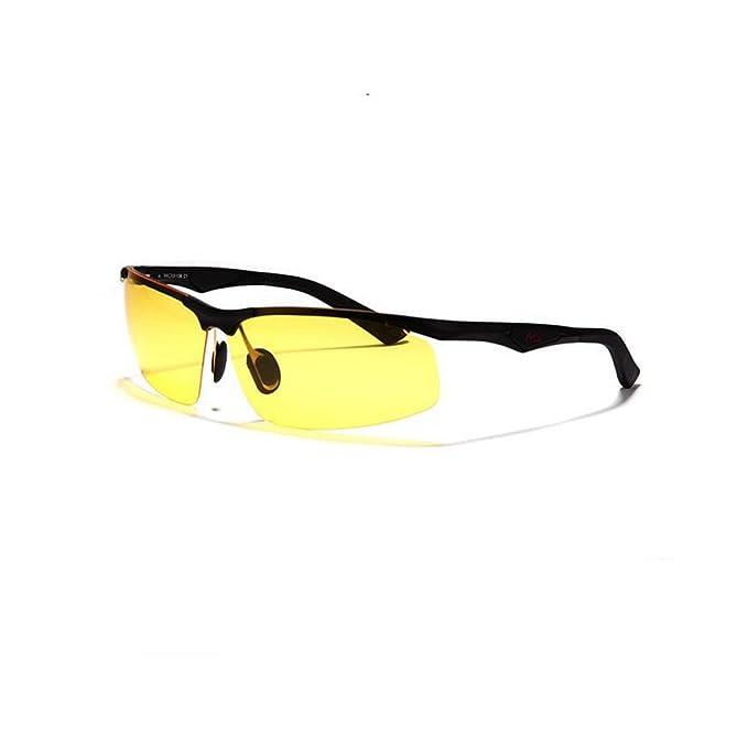 Addora Hombres Protección UV Conducción Gafas Polarizadas Antideslumbrante Antirreflectantes Gafas De Visión Nocturna,Yellow-