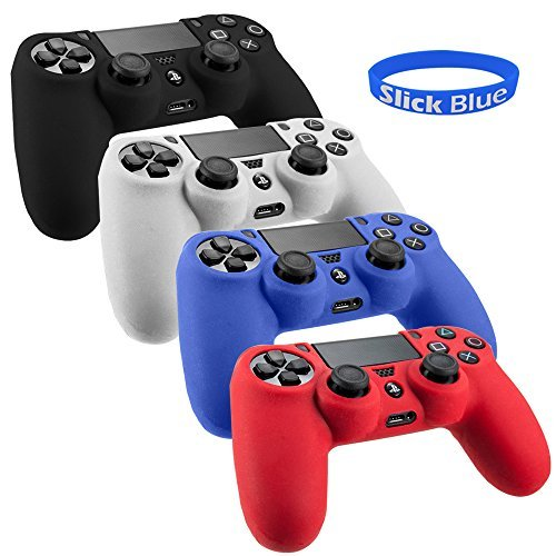 SlickBlue Pack of 4 Color Combo Flexible Silicone Protective Case For Sony PS4 Game Controller - Black/Red/Blue/White [PlayStation - Finish Rub Black Through