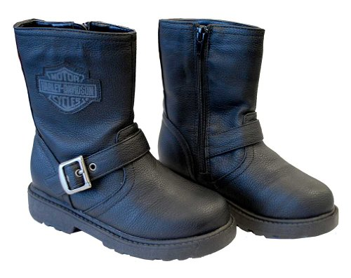 Harley-Davidson Boys Youth PU Pleather Biker Boot Black (13 Little Kid)