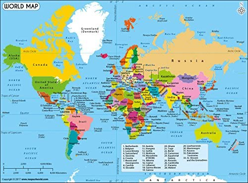 Amazon Com World Political Map Office Products