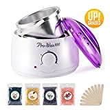 Waxing Kit Hot Wax Warmer Hair Removal Kit with 4 Flavors Hard Pearl Wax Beans, Home Eyebrow Wax Pot Hot Wax Kit with 10 Wax Applicator Sticks for Women and Men's Body Hair Removal