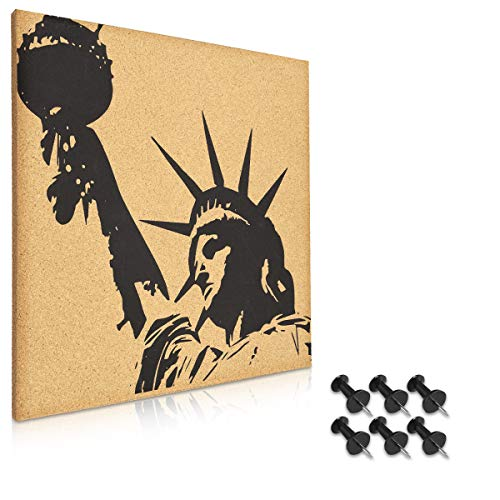 Navaris Cork Bulletin Board - 40 x 40 cm Push Pin Memo Corkboard Statue of Liberty Design with Push Pins for Kitchen, Classroom, Home Office, Bedroom