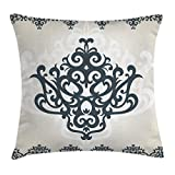 Ambesonne Arabesque Throw Pillow Cushion Cover, Middle Eastern Islamic Motif with Arabic Effects Filigree Swirled Artsy Print, Decorative Square Accent Pillow Case, 18 X 18 inches, Pearl Grey