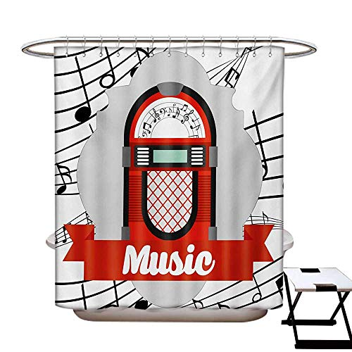 Jukebox Shower Curtains with Shower Hooks Old Vintage Music Radio Box Cartoon Image with Notes Artwork Print Fabric Bathroom Set with Hooks W54 x L78 Orange Pale Grey Black