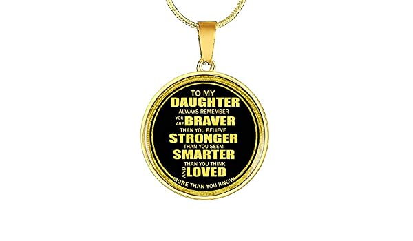 Inspiration Quote 18k Gold Plated Daughter Necklace from Dad Mom You are Braver Than You Believe Back to School/… Xmas Personalized Gift Ideas On Birthday