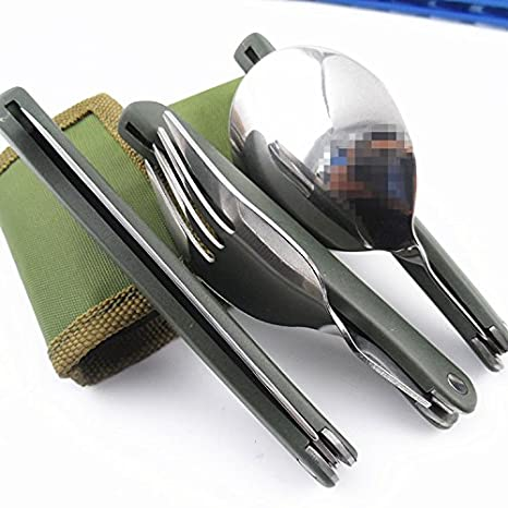 VT BigHome Camping dishes titanium camping cookware folding knife spoon fork utensils for a picnic hike
