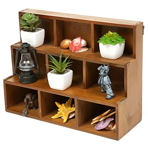 MyGift Small Rustic Wood Display Rack, 3 Tier Wall-Mount Shadow Box Shelves, Brown