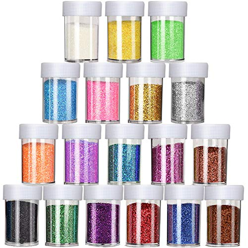 (18 Pack Glitter Powder for Slime, LEOBRO Slime Glitter, Multi Assorted Set Extra Fine Glitter Shake Jars for Slime, Arts & Crafts, Scrapbook, Nail, Body, Face, Eyeshadow Arts, 15g/ Bottle, Total 270g)
