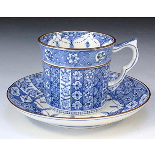 Kiyomizu-kyo yaki ware. Coffee teacup and saucer tsunagikomon with paper box. Porcelain. kymz-CST527