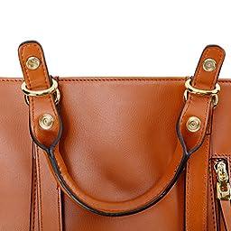 Kattee Urban Style 3-Way Women\'s Genuine Leather Shoulder Tote Bag, Orange
