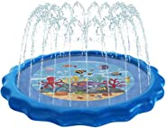 """Dualplex Splash Pad for Kids, 98"""" Inflatable Sprinkler Toy Connects to Garden Hose – Big Extra Large XL Heavy"""
