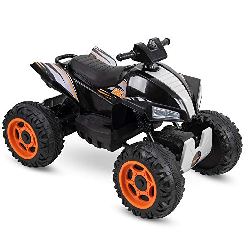 Huffy Kids Electric Battery-Powered Ride-On ATV Truck W/ Lights, Sounds & MP3 Player, Black