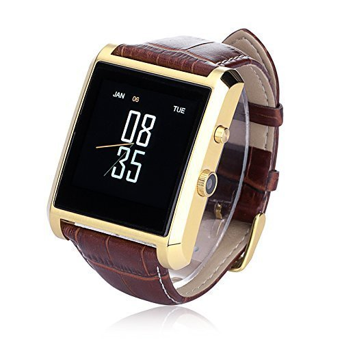 MegadreamBluetooth 4.0 Life Waterproof Drop-proof Smart Watch with 1.3MP Camera 1.54 TFT LCD IPS Touch Screen and PU Leather Strap Band Watch Phone for Android IOS Smartphone and Tablet -Gold