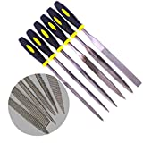 Fatmingo 5x180mm Mini Assorted Wood Rasp File Set Metal Needle Rasps Files with Rubber Handle 6 Shapes Bastard files for Wood and Soft Stuffs Carving