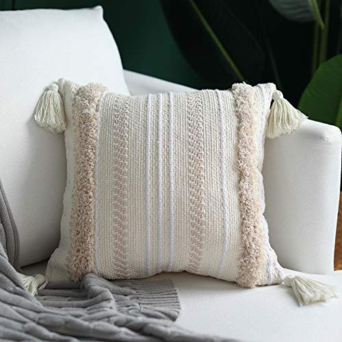 "MOCOFO 16"" Cream White Grey Woven Tufted Tassel Cushion Cover Fringe Pillow Sofa Couch Throw Bohemian Embroidered Cover ONLY (Cream 16X16"