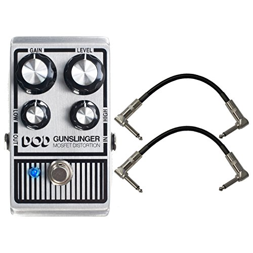 Digitech DOD-GUNSLINGER MOSFET Distortion Pedal with a Pair of R-Angle Patch Cable