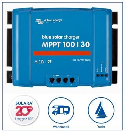 Victron Energy Set BlueSolar | Solarladeregler | Solar-Regler | MPPT 100/30 inklusive VE.Direct Bluetooth Smart dongle