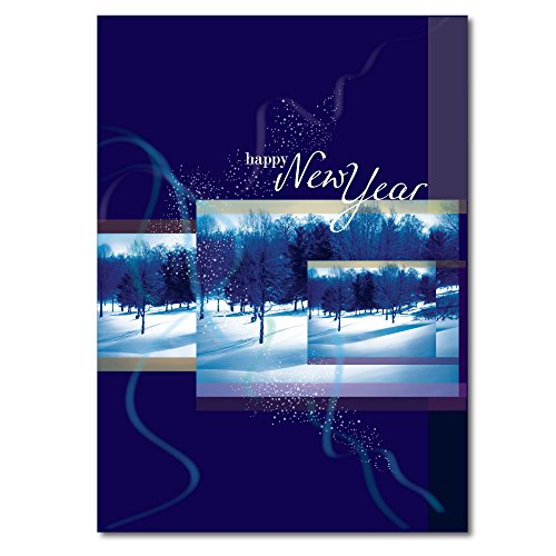 New Year Greeting Card N9005. A picturesque Winter scene and a verse inside suitable for either personal or business use. Silver foil-lined envelopes.