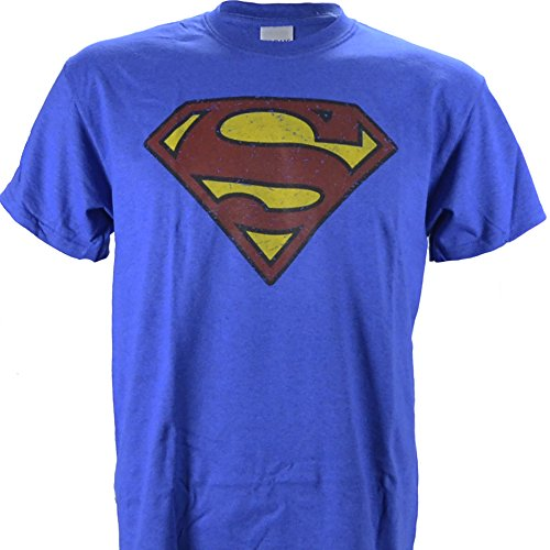 Superman Logo Distressed Vintage Print on a Heathered Blue T Shirt, Medium (Vintage Men Shirts)
